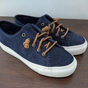 Sperry Suede Navy Platform Sneakers